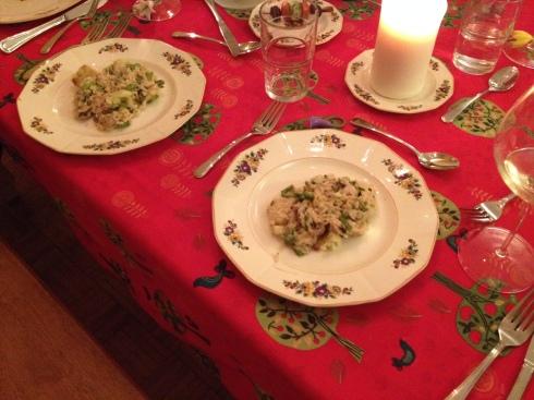 Risotto au chou-fleur grillé, champignons et asperges
