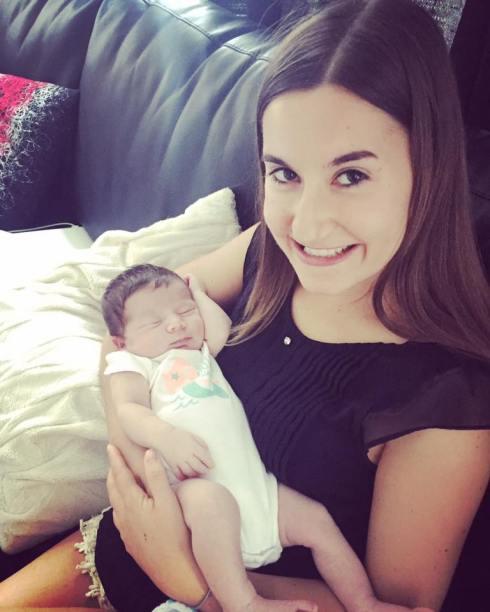 Michèle et bébé Raphaëlle d'automne