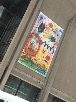 Traits d'observation, 2016-2017 de Dan Brault sur la façade du Grand Théâtre de Québec